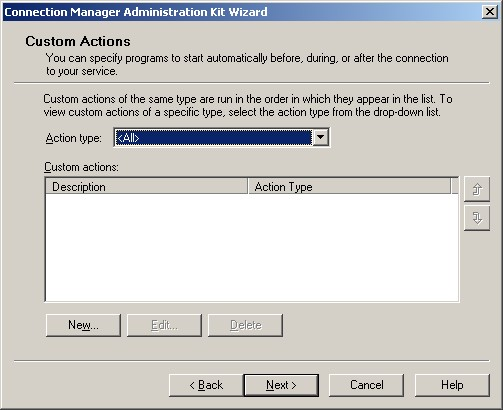 Figure 1: The Custom Actions screen of the CMAK Wizard