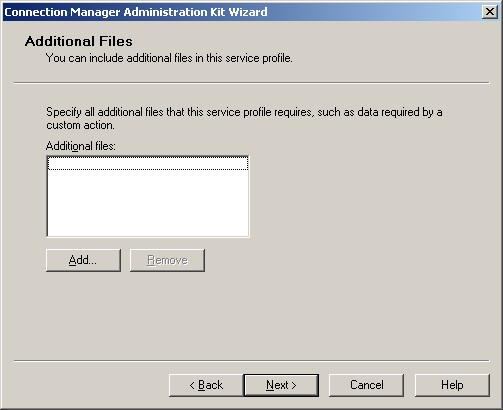 Figure 3: the CMAK wizard Additional Files screenx