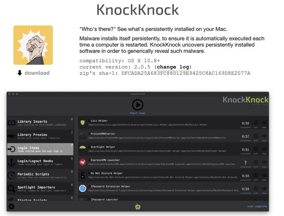 Поиск вредоносов и кейлоггеров в MacOS 25