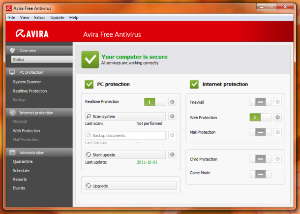 Window Avira Free Antivirus