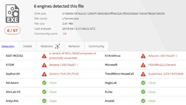 Антивирус отMicrosoft заблокировал сервис uTorrent